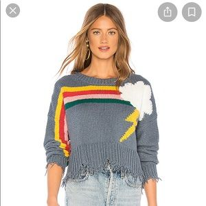 NWT Wildfox rainbow storm sweater size Small